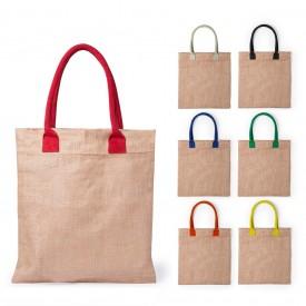 Торбичка от юта с цветни дръжки
