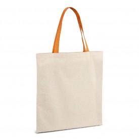 Рекламна памучна торбичка с цветни дръжки