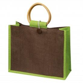 Чанта от юта с бамбукови дръжки